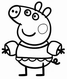 peppa pig go swimming coloring page free printable