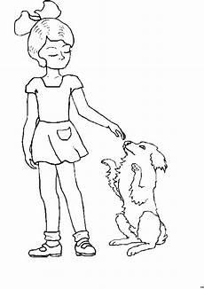 maedchen spielt mit hund ausmalbild malvorlage kinder
