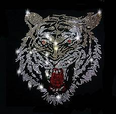 Malvorlagen Tiger Xl Xl 20 Strass Applikation Tiger Kopf Bunt Gold B 252 Gelbild