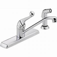 delta classic single handle kitchen faucet delta classic single handle standard kitchen faucet with side sprayer in chrome 420lf the home