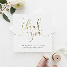 thank you for being my bridesmaid card template thank you for being my bridesmaid card gold effect by