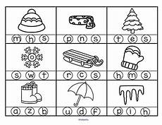 winter themed worksheets pre k 20105 winter theme initial sounds circle the correct letter initial sounds kindergarten winter