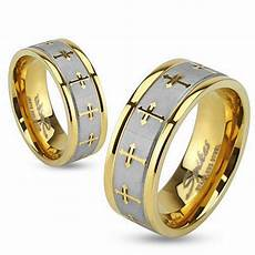 womens mens gold brushed stainless steel cross wedding