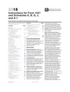 instructions for irs form 1041 schedule a b g j and k 1 u s income tax return for estates