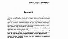 download car manuals pdf free 2010 toyota avalon lane departure warning toyota avalon 2000 owner s manual pdf online download
