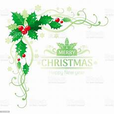 merry christmas and happy new year corner border frame with holly berry leafs text lettering