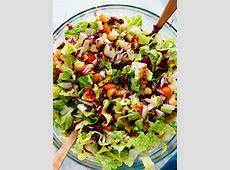 salad greens with italian dressing_image