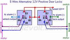door locks 5 wire alternating 12 volts positive type c relay wiring diagram