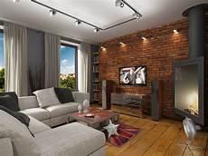 lighting living room spotlight brick wall corner