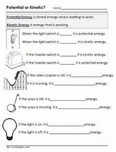 potential or kinetic energy worksheet kinetic energy 4th grade science science worksheets