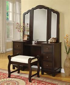 Vanity Furniture Bedroom by Acme 06552 3 Pcs Espresso Makeup Vanity Set With Tri Fold