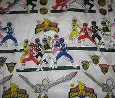 power rangers flat bed sheet reclaimed fabric