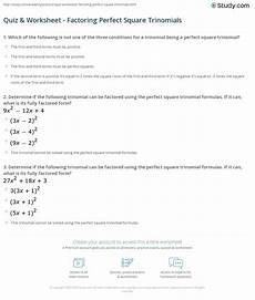 quiz worksheet factoring square trinomials study com