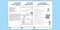 mental math worksheets addition and subtraction mental maths addition and subtraction worksheet activity