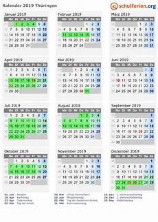Kalender 2019 Ferien Th 252 Ringen Feiertage