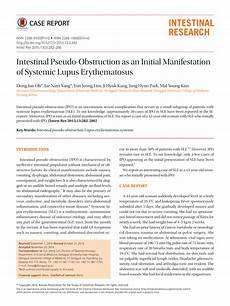 pdf intestinal pseudo obstruction as an initial manifestation of systemic lupus erythematosus