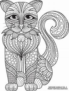 cat from quot awesome animals volume 6 quot cat coloring page doodle coloring adult coloring pages
