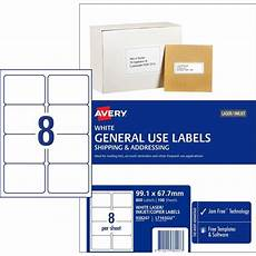 35 50 avery 938207 general use labels 8 per sheet 99 1x67 7mm box 100 sheets