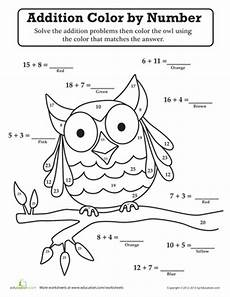 grade math addition coloring worksheet owl color by number owl moon school theme