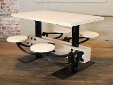 swing table vintage industrial cafeteria swing out seat kitchen
