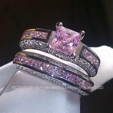sz 6 10 brand princess cut 10kt white gold filled pink sapphire wedding ring