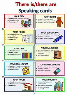 there is there are speaking cards english esl worksheets