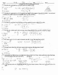 physical science worksheet energy work and power answers work power and energy practice problems with key by mrs k science