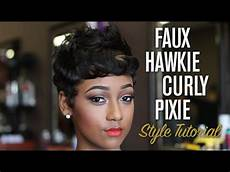 quick easy faux hawk curly pixie style tutorial