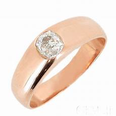 bague jonc anglais or diamant taille ancienne 0 50