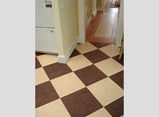 Checker board design in brown and cream Marmoleum linoleum