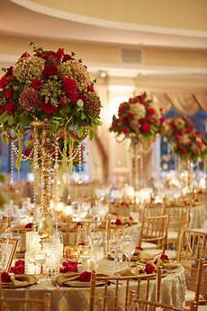 gold reception decor idea round banquet tables gold