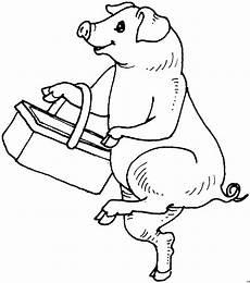 Lustige Schweine Ausmalbilder Schwein Mit Korb Ausmalbild Malvorlage Tiere