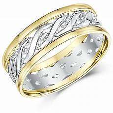 7mm 9ct yellow white gold two colour celtic wedding ring