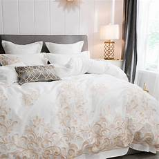 White And Gold Duvet Cover by White Gold Embroidery Cotton Duvet Cover Set