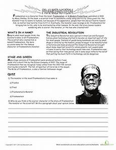 worksheets for kindergarten 19270 all about frankenstein worksheets reading comprehension worksheets reading