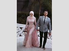 Muslim Style Mermaid Pink Wedding Dresses With Hijab Saudi