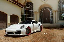 White Porsche Turbo S  ADV7 Track Spec CS Concave Wheels