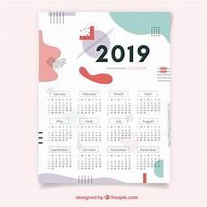calendar for 2019 in flat design vector free download