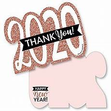 rose gold happy new year shaped thank you cards 2020 new year s party thank you note