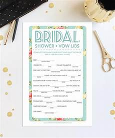 instant download bridal shower mad libs game shabby chic