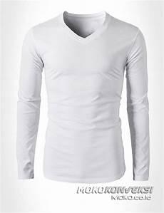 baju kaos v neck putih lengan panjang moko konveksi konveksi semarang moko perusahaan
