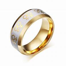 pride symbol gold plated engagement ring queerks