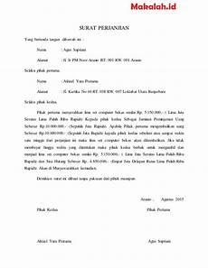 pengertian dan contoh surat perjanjian hutang piutang