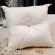 simple ring pillow in white satin with rhinestones 256202 2017 16 99