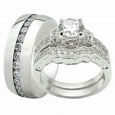 3pcs his and hers titanium 925 sterling silver wedding bridal matching ring ebay