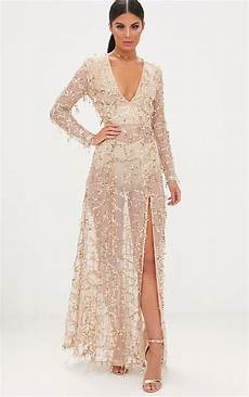 Premium Showstopper Embellished Maxi valentina gold sequin sleeve maxi dress