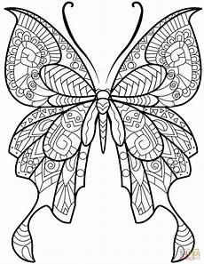 Ausmalbild Schmetterling Mandala Zentangle Butterfly Coloring