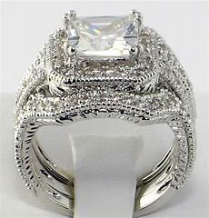 elite vintage 4 ct princess cut cz bridal engagement wedding ring set size 8 ebay