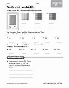 tenths and hundredths homework 21 1 4th 5th grade worksheet lesson planet