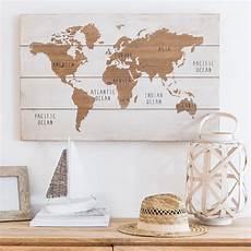 Tableau Carte Du Monde Blanc Et Marron 80x51 Map World